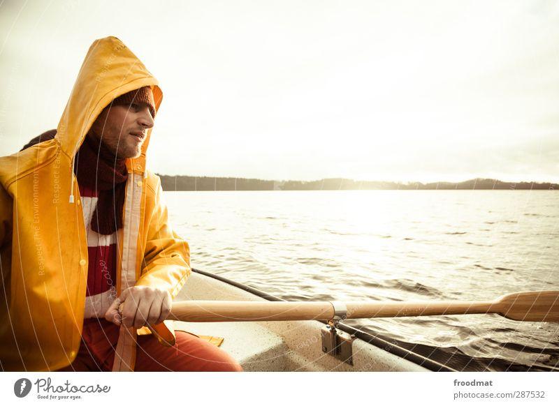 romantik Mensch Himmel Mann Jugendliche ruhig Winter Erholung Erwachsene kalt Herbst Junger Mann See Horizont träumen maskulin Freizeit & Hobby