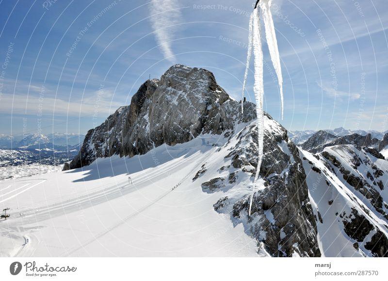 Eis-Berg Himmel Natur Ferien & Urlaub & Reisen blau weiß Wolken Ferne Winter Berge u. Gebirge kalt Schnee Freiheit Stein Felsen Tourismus Eis