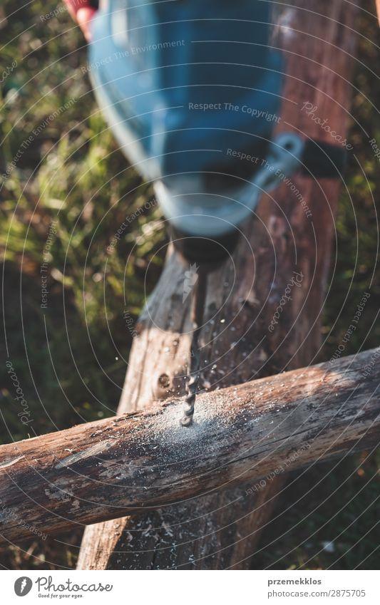 Bohren von Löchern in Holz bei der Gartenarbeit Sommer Arbeit & Erwerbstätigkeit Handwerk Werkzeug Mensch Mann Erwachsene Gras Gebäude nah 35-40 Jahre