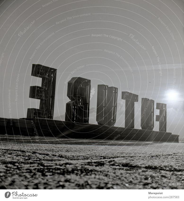 Zukunft Dekoration & Verzierung Holz Ornament grau schwarz weiß Schwarzweißfoto Außenaufnahme Experiment Menschenleer Tag Licht Schatten Kontrast Silhouette