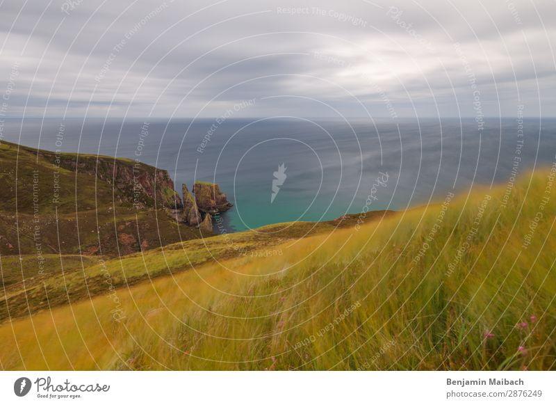 Einsame Küste Ferien & Urlaub & Reisen Tourismus Abenteuer Ferne Freiheit Meer Natur Landschaft Pflanze Wasser Himmel Wolken Sommer Wetter Wind Gras Felsen