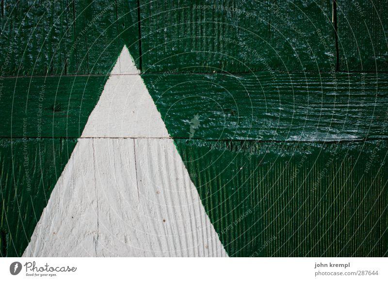 Alpenalarm Holz retro Spitze grün weiß Ordnungsliebe ästhetisch Entschlossenheit Kontrolle Spannung Lack Fensterladen Maserung Pfeil Richtung Gedeckte Farben
