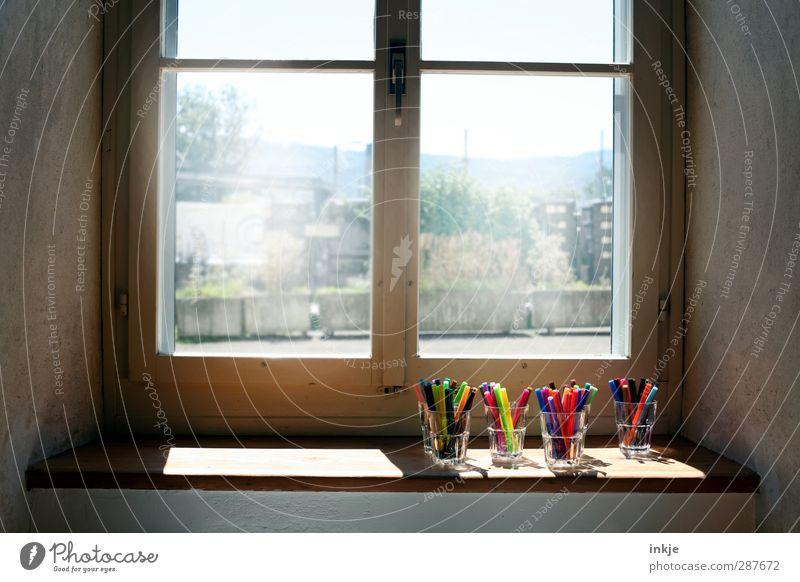 Guten Morgen, liebe Kinder! Haus Fenster Schule hell Kindheit Glas Häusliches Leben Idylle Kreativität Bildung Freundlichkeit Kindergarten Schreibstift Fensterscheibe Inspiration Kindererziehung