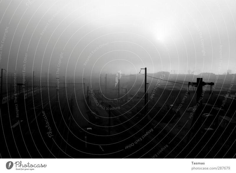 21. Dezember Menschenleer Bahnhof Gleise Wahrheit Einsamkeit Angst Todesangst Ende Endzeitstimmung Apokalypse Schienenverkehr Eisenbahn Schwarzweißfoto
