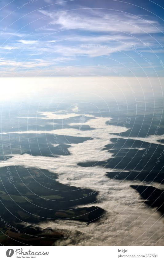 Wolkenfluß über Frankreich Landschaft Luft Himmel Horizont Frühling Sommer Herbst Wetter Schönes Wetter Nebel Feld Wald Hügel Fluss Menschenleer Luftverkehr