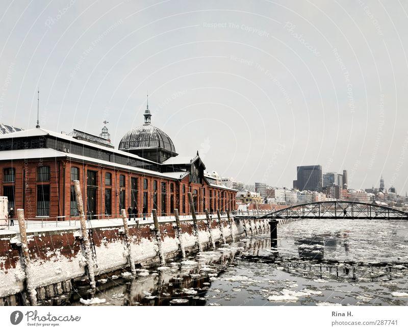 Hamburger Hafen im Winter kalt Schnee Architektur Gebäude Eis Schönes Wetter Brücke Frost Fluss Schifffahrt Sehenswürdigkeit Pfosten Elbe