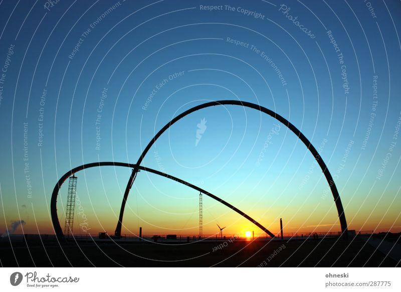 Bogenlampe Urelemente Luft Himmel Wolkenloser Himmel Sonne Sonnenaufgang Sonnenuntergang Sonnenlicht Ruhrgebiet Observatorium Architektur ruhig Sehnsucht