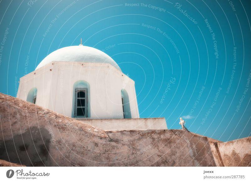 Santa Irini Wolkenloser Himmel Sonnenlicht Sommer Schönes Wetter Santorin Kirche Mauer Wand Stein Zeichen alt blau braun weiß Glaube Religion & Glaube