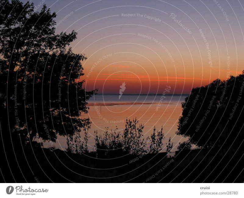 Gardasee Sonne rot Sommer Ferien & Urlaub & Reisen ruhig See orange Abenddämmerung