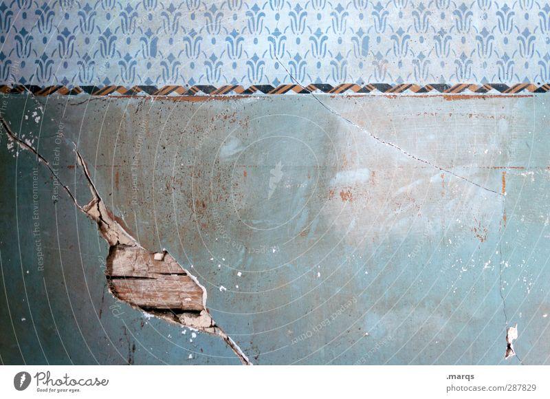 Wand el Lifestyle Design Mauer alt dreckig retro Wandel & Veränderung Renovieren Innenarchitektur kaputt Riss Streifen blau Hintergrundbild Unbewohnt Tapete