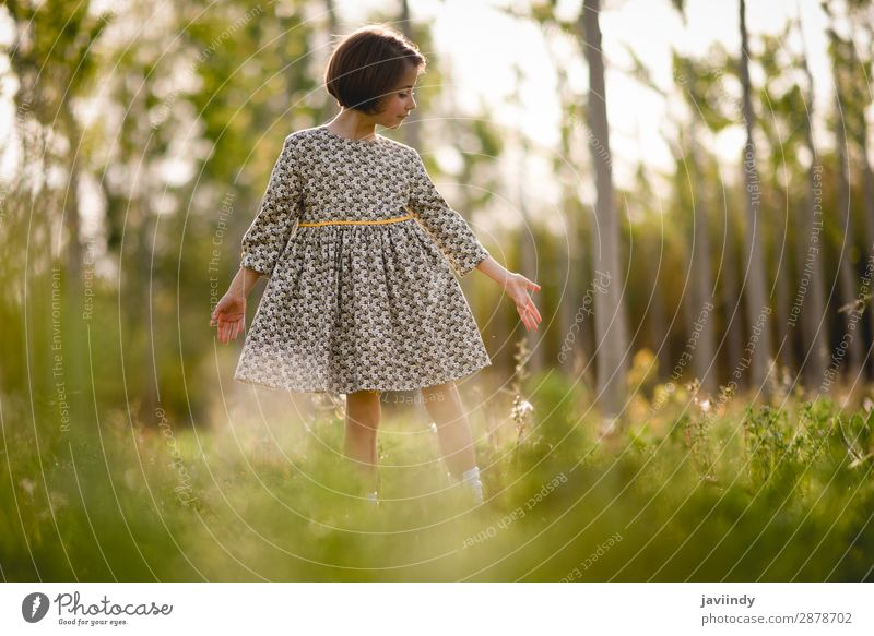 Kleines Mädchen im Naturfeld mit schönem Kleid Lifestyle Freude Glück Spielen Sommer Kind Mensch feminin Frau Erwachsene Kindheit 1 3-8 Jahre Blume Gras Wiese