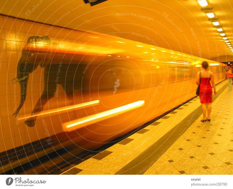 Elefantenrennen U-Bahn S-Bahn Eisenbahn Gleise Geschwindigkeit Unschärfe gelb Tunnel Verkehr Berlin orange