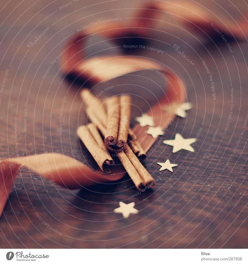 Zimtig Weihnachten & Advent braun gold Dekoration & Verzierung Stern (Symbol) Geschenk Kräuter & Gewürze Geschenkband