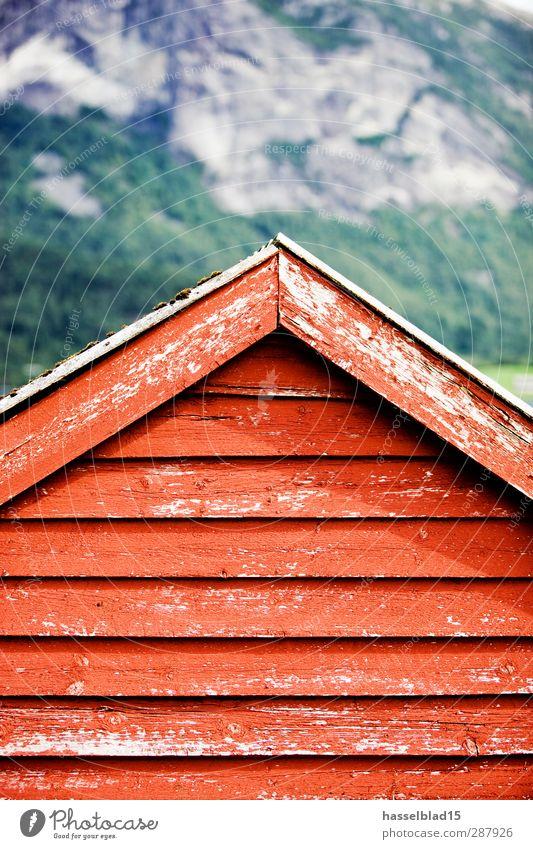 Norwegen Natur Ferien & Urlaub & Reisen Erholung rot Landschaft Haus Berge u. Gebirge Wand Gebäude Mauer Gesundheit Holz Fassade Tourismus Abenteuer Dach