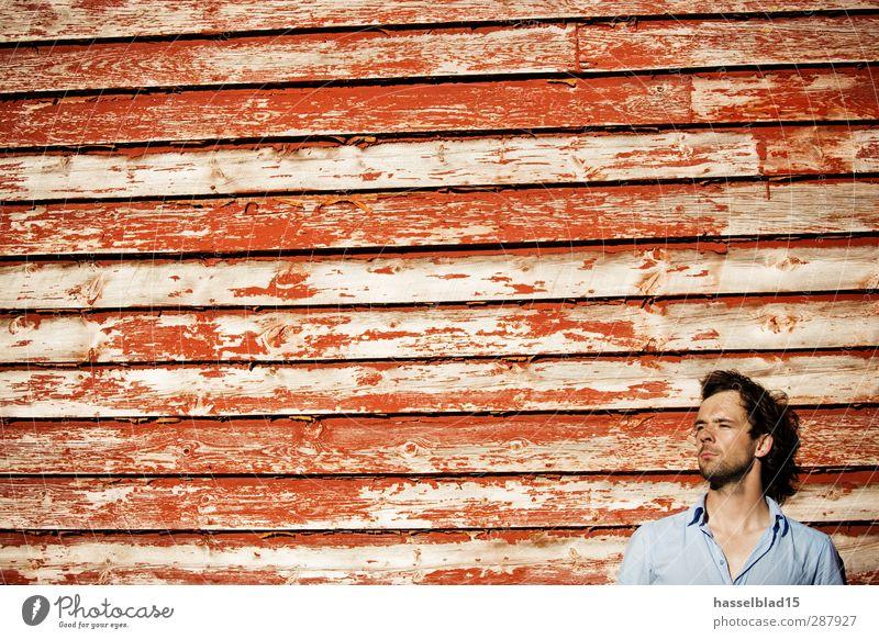 Norwegen Portrait Mensch Ferien & Urlaub & Reisen Jugendliche Erholung rot Junger Mann Landschaft ruhig Haus 18-30 Jahre Erwachsene Gefühle Farbstoff Gesundheit