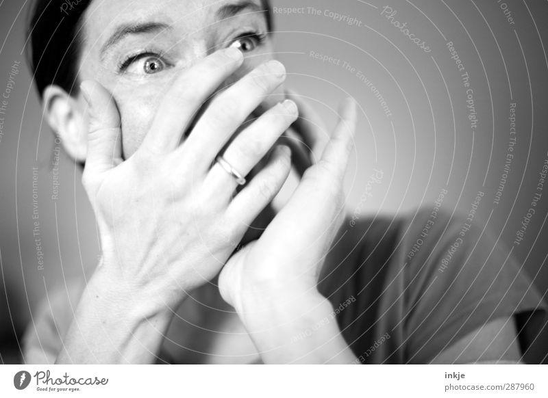 WAAAAAAAHHHHH!!! Coooooool!! Freude Freizeit & Hobby Frau Erwachsene Leben Gesicht Hand 1 Mensch 30-45 Jahre beobachten lachen Blick Fröhlichkeit Gefühle