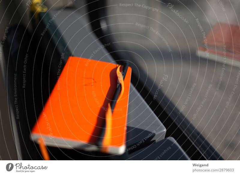 Notizbuch Schreibwaren Papier Zettel Schreibstift lesen schreiben orange Idee Konzept Bahnfahren Fenster Buch Literatur Farbfoto Textfreiraum rechts