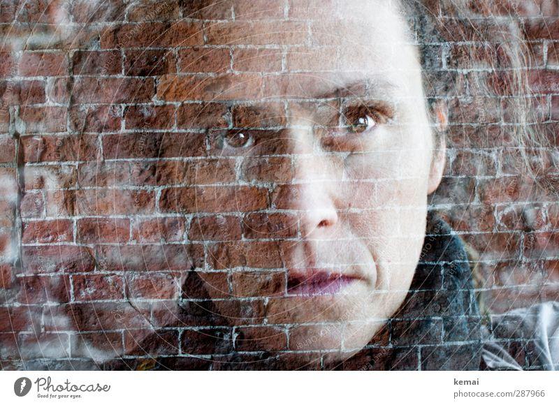 Durch die Mauer sehen Mensch feminin Erwachsene Leben Kopf Haare & Frisuren Gesicht Auge Nase Mund 1 30-45 Jahre Wand Backstein Blick Gefühle Stimmung ruhig