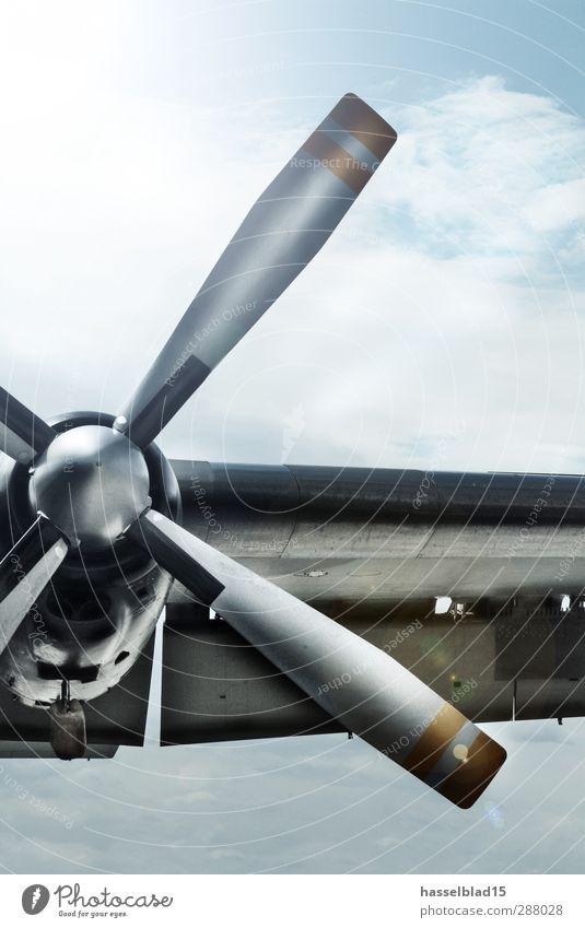 Leitwerk Propeller blau weiß Umwelt grau Metall fliegen Verkehr Luftverkehr Flugzeug Abenteuer Technik & Technologie bedrohlich Tragfläche entdecken Höhenangst