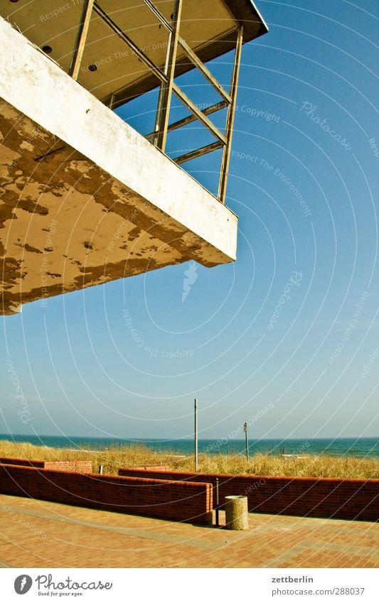 Sellin Umwelt Natur Landschaft Wolkenloser Himmel Horizont Sommer Klima Klimawandel Wetter Schönes Wetter Küste Ostsee Meer Dorf Fischerdorf Menschenleer Haus