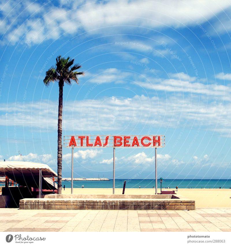 Atlas Beach Himmel Ferien & Urlaub & Reisen Sommer Sonne Meer Freude Strand Wolken Erholung Freiheit Küste Schwimmen & Baden Luft Schilder & Markierungen