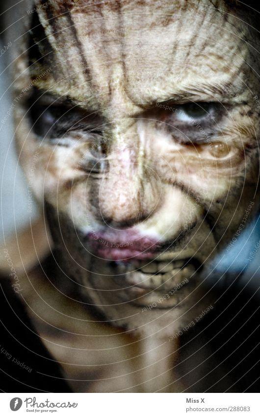 Wir waren alle mal jung und gesund Mensch Jugendliche Erwachsene Gesicht Auge Gefühle Kopf 18-30 Jahre Hautfalten Wut Aggression Ärger Hass verstört Zombie
