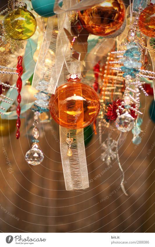 Kitschig-X-Mas Weihnachten & Advent oben Holz Feste & Feiern gold glänzend Glas Dekoration & Verzierung Schnur Weihnachtsbaum Kugel Holzbrett hängen