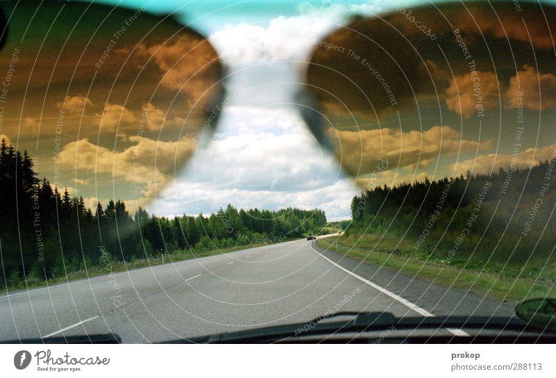 Nordische Sichtweise Umwelt Natur Landschaft Himmel Wolken Wetter Schönes Wetter Baum Gras Wald Verkehr Verkehrsmittel Verkehrswege Personenverkehr Autofahren