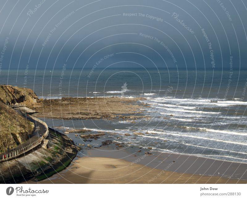 Seeluft | Take a Deep Breath Mensch Himmel Meer Strand Wege & Pfade Küste Luft Horizont Felsen Wellen Wind frisch Spaziergang Hügel Fußweg Bucht
