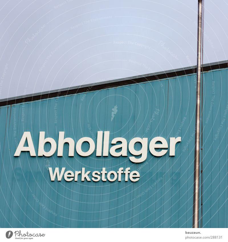 hooool mich ab. blau weiß Wand Mauer grau Gebäude Linie Fassade Schilder & Markierungen Schriftzeichen Hinweisschild kaufen Fabrik Dienstleistungsgewerbe