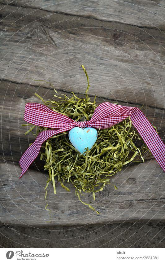 Blaues Herz mit Schleife, im Osternest auf Holzhintergrund. Feste & Feiern Valentinstag Muttertag Natur Gras Moos Dekoration & Verzierung Kitsch Krimskrams