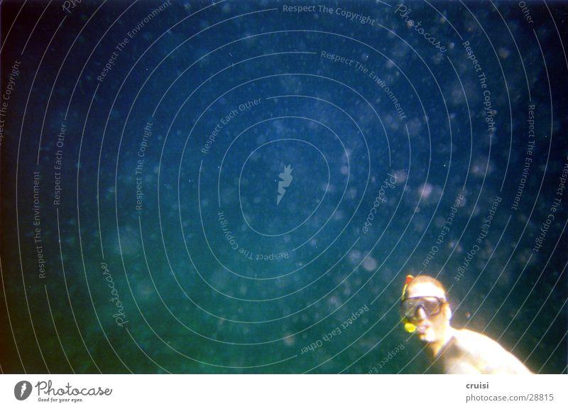 Schnorcheler Wasseroberfläche tauchen Schnorcheln Meer Reflexion & Spiegelung Sonnenstrahlen nass Luftblase Sport