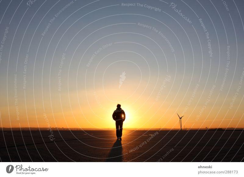 Weitermachen Mensch maskulin Mann Erwachsene 1 Urelemente Wolkenloser Himmel Sonne Sonnenaufgang Sonnenuntergang Sonnenlicht Klimawandel Schönes Wetter
