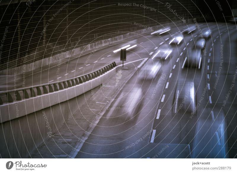 AS Kaiserdamm: Rush Hour Stadt Bewegung Wege & Pfade Zeit Linie PKW authentisch Geschwindigkeit Beton Zukunft Streifen fahren Zukunftsangst Verkehrswege Stress