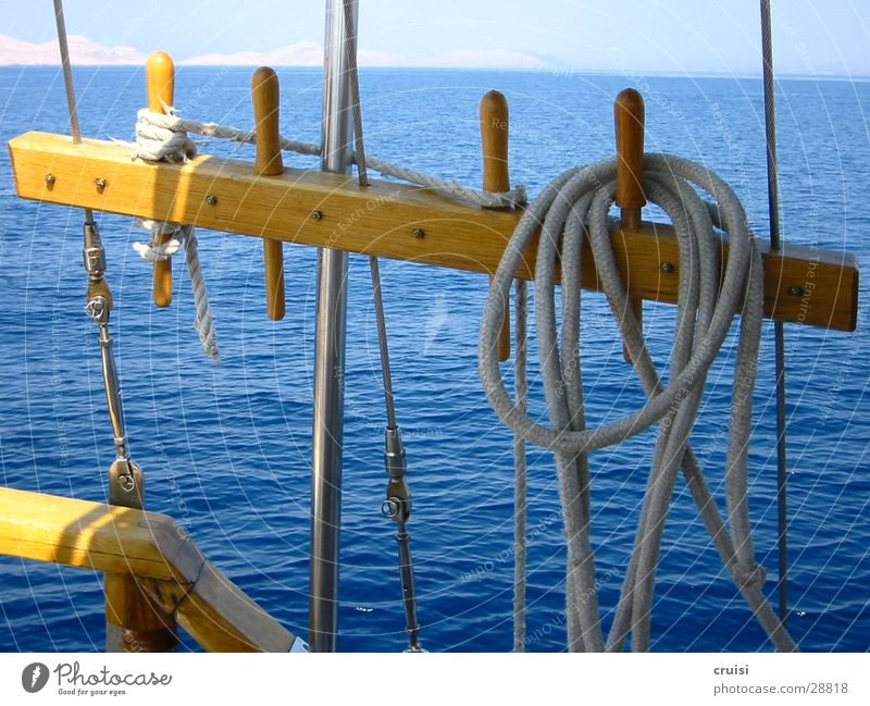 Takelage Wasser Sonne Meer blau Sommer Ferien & Urlaub & Reisen Wasserfahrzeug Seil Horizont Europa Segeln Segelboot Kroatien Sommerurlaub Kornaten