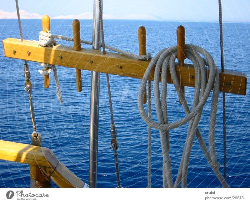 Takelage Wasser Sonne Meer blau Sommer Ferien & Urlaub & Reisen Wasserfahrzeug Seil Horizont Europa Segeln Segelboot Kroatien Sommerurlaub Takelage Kornaten