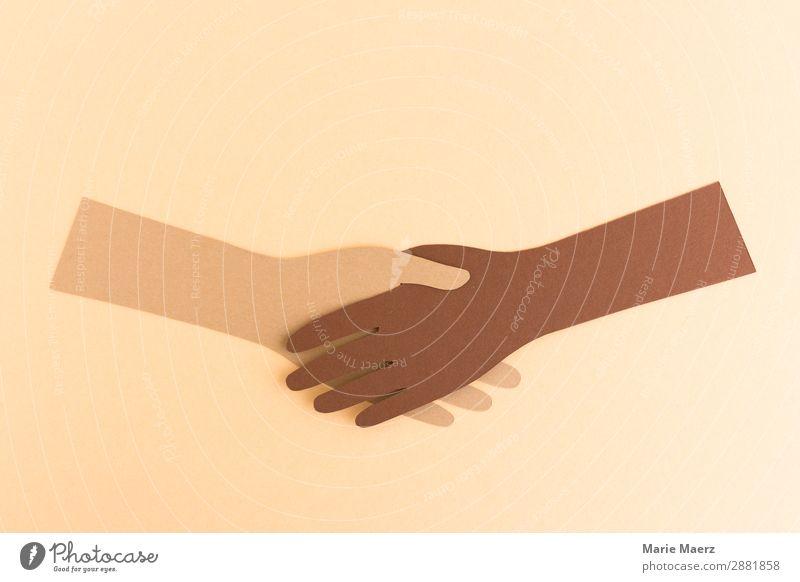 Völkerverständigung Arbeit & Erwerbstätigkeit Erfolg Team Hand 2 Mensch festhalten Kommunizieren Zusammensein einzigartig modern Tugend Kraft Vertrauen