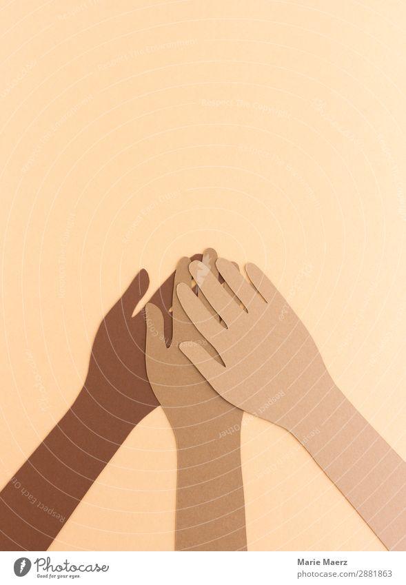 Gemeinsam schaffen Mensch Hand Religion & Glaube Zusammensein braun Freundschaft Kultur Erfolg Hilfsbereitschaft Team Zusammenhalt Frieden Vertrauen machen