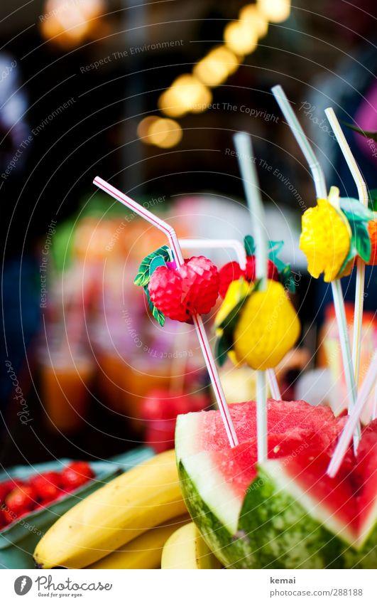 Frucht pur Gesundheit Frucht Lebensmittel frisch Ernährung lecker Banane Trinkhalm Wassermelone