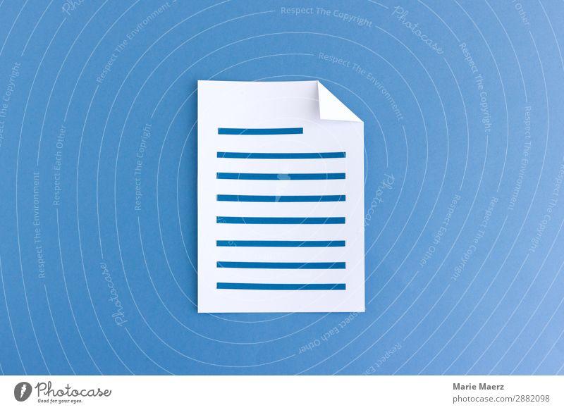 Artikel schreiben - Beschriebenes Blatt Papier Bildung Wissenschaften Studium lernen Arbeit & Erwerbstätigkeit sprechen Kommunizieren lesen Erfolg gut neu blau