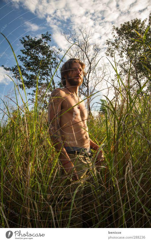 grasman Mensch Natur Mann Ferien & Urlaub & Reisen schön Sommer Sonne Einsamkeit nackt Erotik Junger Mann Gras See Haut maskulin stehen