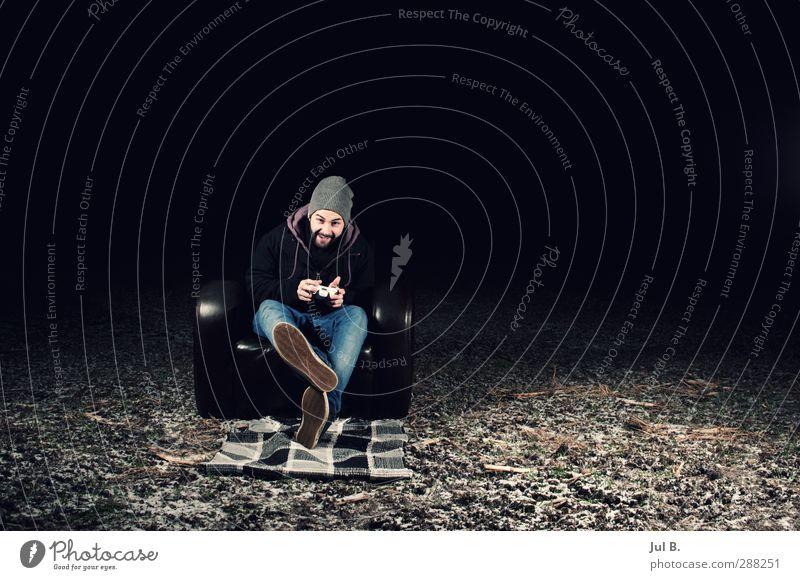let's get play Freude Freizeit & Hobby Spielen Sessel Spielkonsole Junger Mann Jugendliche 1 Mensch neu Natur Farbfoto Außenaufnahme abstrakt Nacht