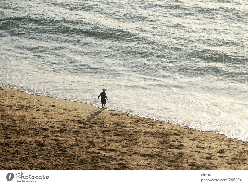Abenteuerurlaub Kind Junge Kindheit Leben 3-8 Jahre Sand Wasser Schönes Wetter Wellen Küste Strand beobachten laufen Spielen klein nass Freude Glück