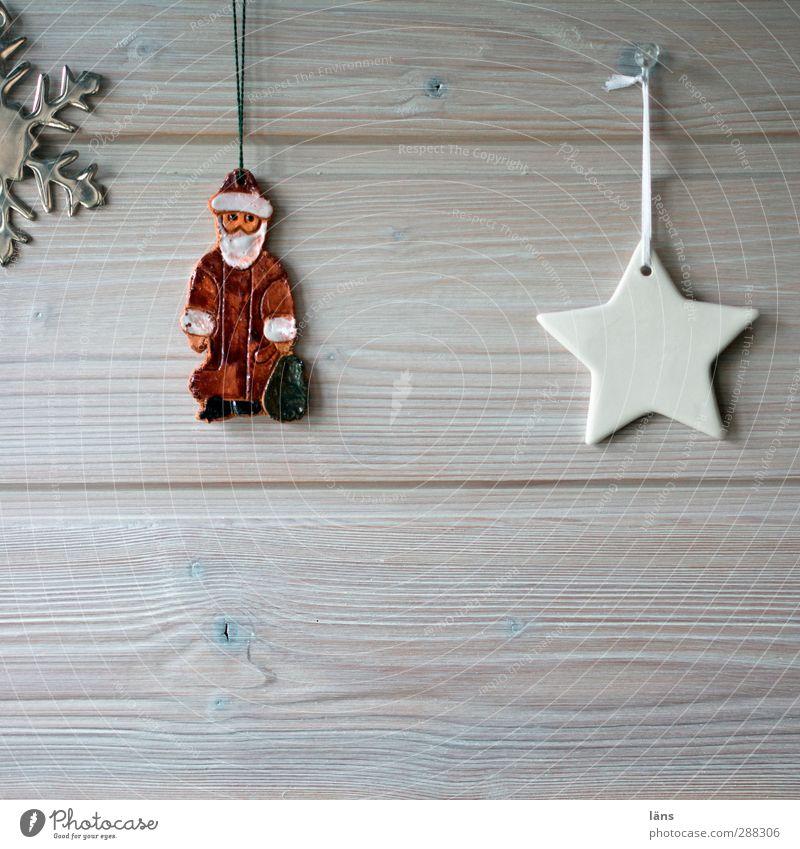 Hüttenzauber Häusliches Leben Wohnung Feste & Feiern Weihnachten & Advent Vorfreude Stern (Symbol) Weihnachtsmann Schneekristall Holzwand Wandtäfelung