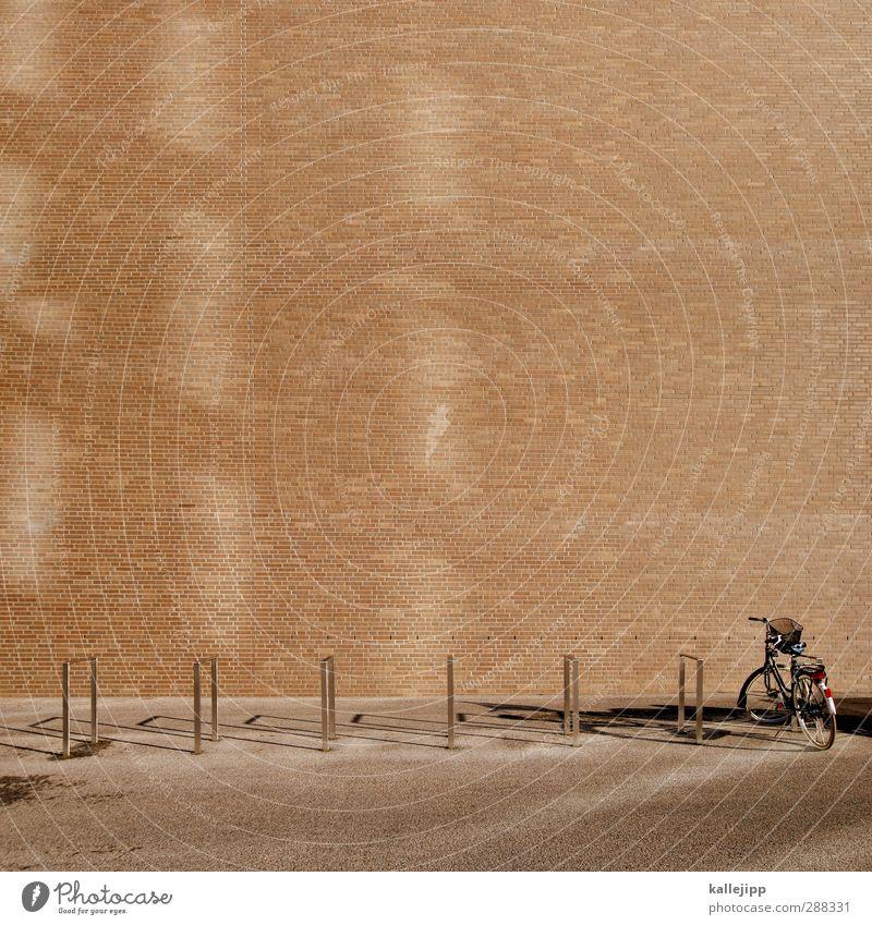 abstellgleis Straße Fahrrad Freizeit & Hobby Verkehr stehen Fahrzeug minimalistisch Backsteinwand Fahrradständer Damenfahrrad