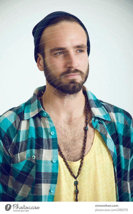 Jugendlicher Mensch 18-30 Jahre Erwachsene Stil Mode maskulin Lifestyle Jugendkultur Mütze Student Hemd kariert Künstler Halskette Accessoire