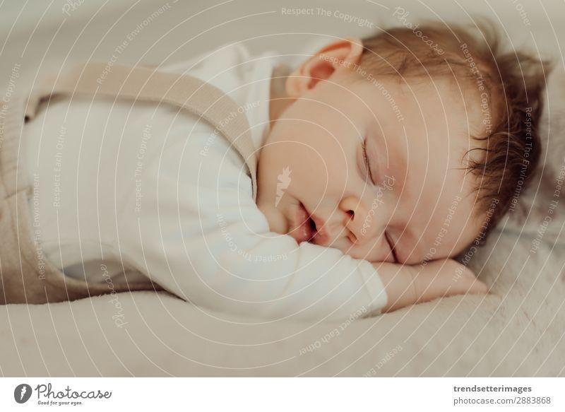 Porträt eines schlafenden Neugeborenen schön Gesicht Leben Kind Baby Kindheit träumen klein natürlich neu niedlich weich weiß unschuldig neugeboren Decke