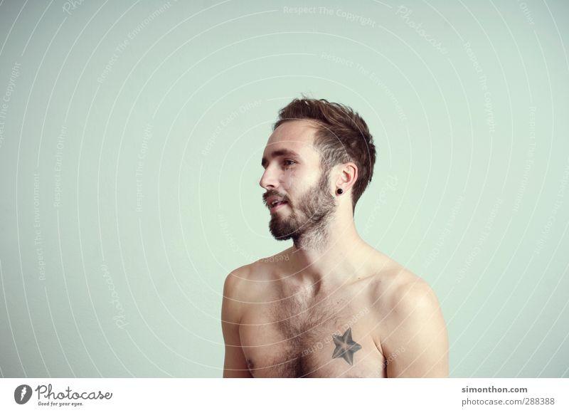 Hipster Körper Fitness Sport-Training maskulin 1 Mensch 18-30 Jahre Jugendliche Erwachsene Musiker Sinnesorgane Tattoo Bart Farbfoto Blitzlichtaufnahme Porträt