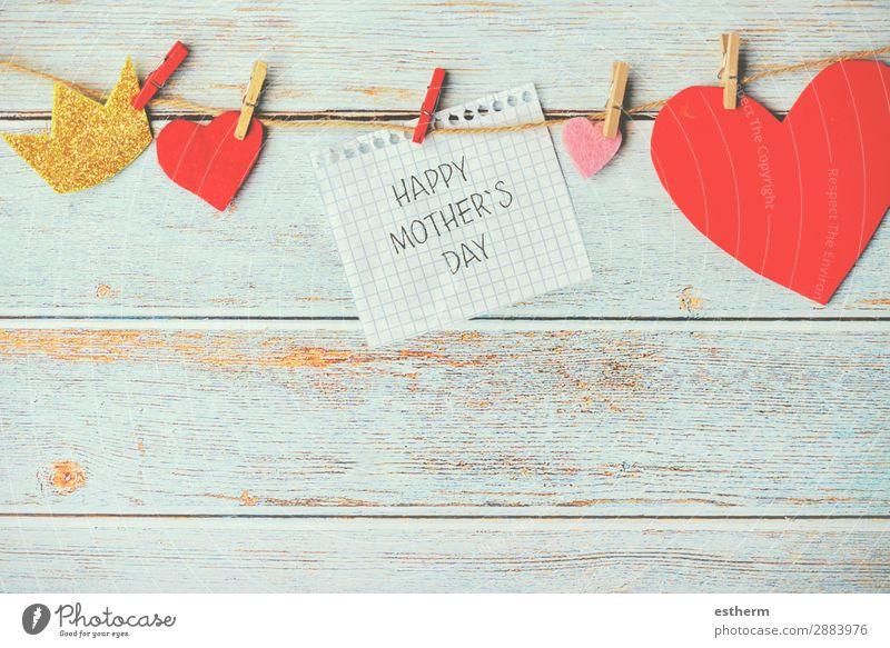 froher Muttertag Freude Dekoration & Verzierung Tisch Feste & Feiern Erwachsene Familie & Verwandtschaft Kindheit Papier Holz Herz Küssen Liebe Fröhlichkeit rot