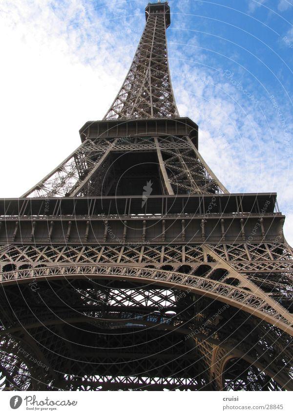 Eiffelturm Himmel blau Wolken Europa Niveau Spitze Paris Stahl Frankreich Fahrstuhl Schwindelgefühl Tour d'Eiffel Weltausstellung